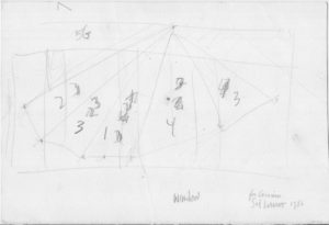 Sol LeWitt Wall Sketch. An original conception of a wall drawing intended for an exhibit at the John Weber gallery in March of 1986